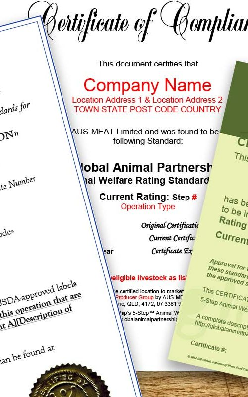 GAP Certificate - Farm Animal Welfare Standards