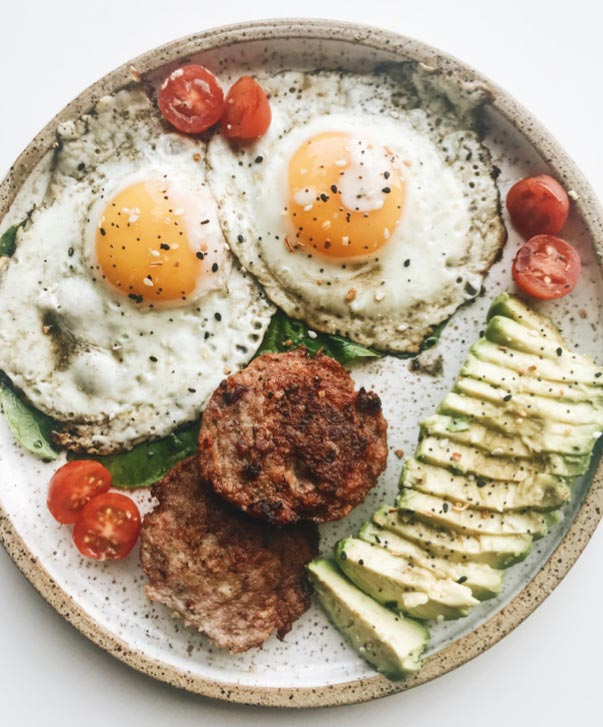 Eggs, Sausage and Avocado with GAP-Certified Meat