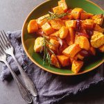 Roasted Sweet Potatoes with Honey & Cinnamon