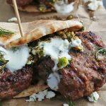 Grilled Lamb Pitas with Pistachio & Mint Pesto