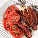 Grilled Steaks with Marinated Tomatoes