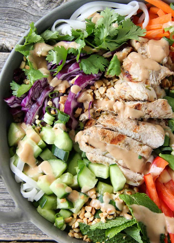 Coconut Lime Grilled Turkey Noodle Bowls - #MakeItGAP Recipe
