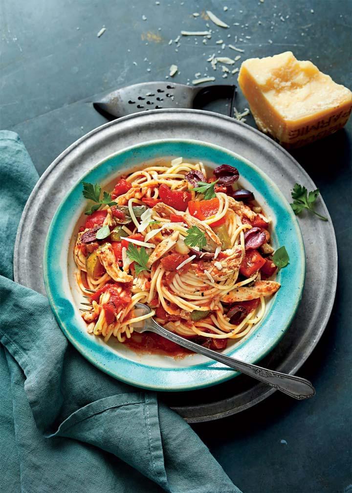 Slow Cooker Chicken Cacciatore with Spaghetti - #MakeItGAP Recipe