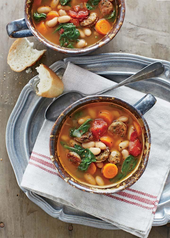 Slow Cooker Chicken Sausage and White Bean Stew - #MakeitGAP Recipe